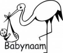 Geboortesticker voor op het raam (ooievaar)