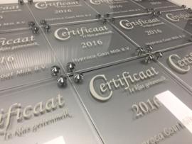 Certificaat plexiglas + kunststof achterplaat