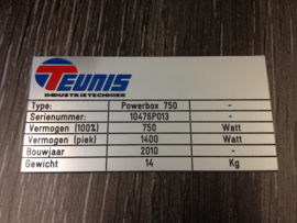 Typeplaat aluminium glans div. gegevens