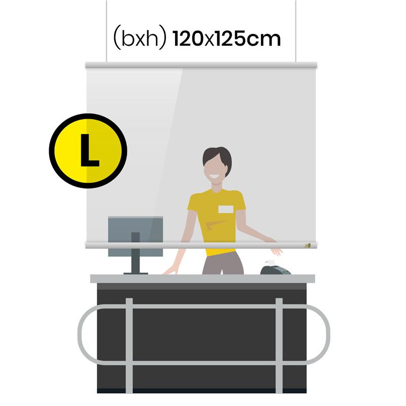 transparant scherm met ophangsysteem