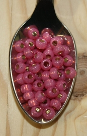 Seed bead - 6/0 - silverlined alabaster dyed dark rose