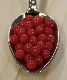 Jade kraal - Rouge rood - 4mm