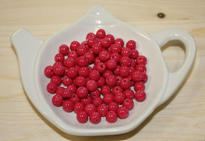 Glasperle opaque - Rouge Fuchsia - 6mm