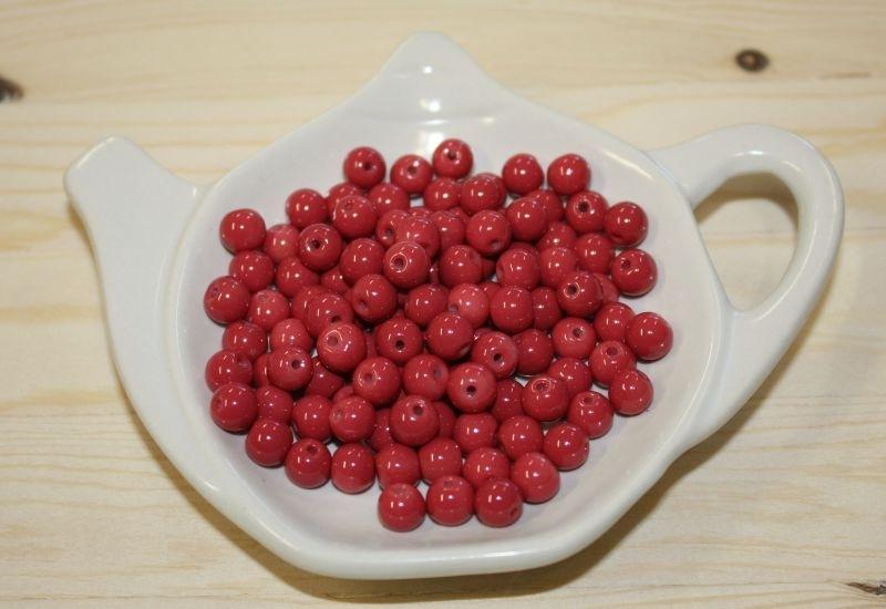 Glaskraal opaque - Paparacha rood - 6mm