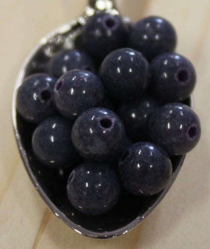 Jade perle - Dunkel Grau - 6mm