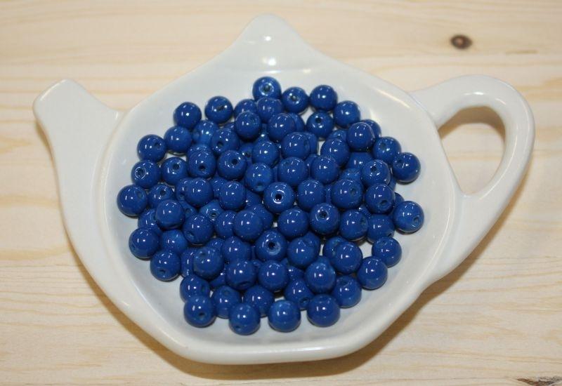 Glasperle opaque - Dunkel Blau  - 6mm