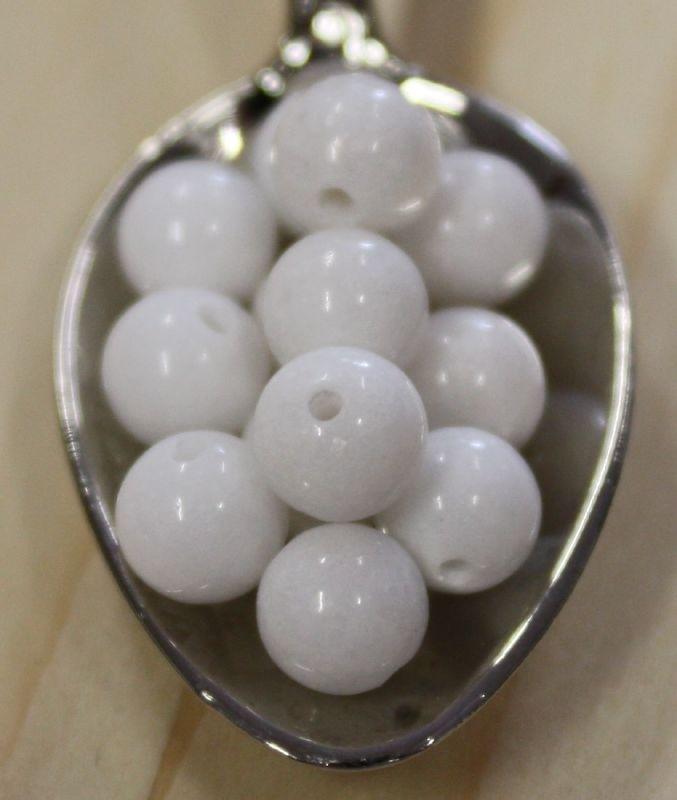 Jade kraal - Wit - 6mm