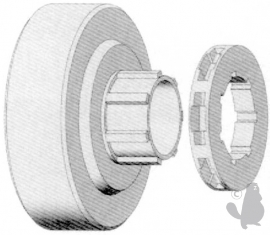 Tandwiel Ring met lager | 3/8 | 7 tands | EG1709418 | Passend op DOLMAR 112, 113, 114, 116, 116SI,  117, 119, 120, 120 SUPER