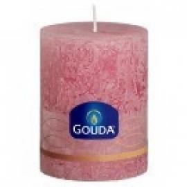 Gouda Rustieke stompkaarsen 100/75 mm Diamant roze