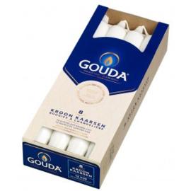 Gouda  Kroonkaarsen  240/24 Satijn Wit ( 8 stuks)