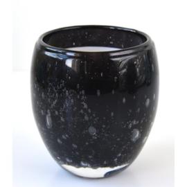 Les Lumières du Temps - Middelgrote geurkaars Perle in Zwart glas