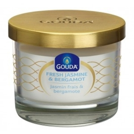 Gouda Geurglas Satijn wit / Fresh jasmine & bergamot 66/80 mm
