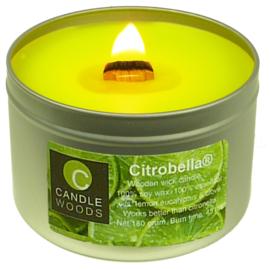 Citrobella® Citronella kaars in blik met vensterdeksel en houtlont 180 g