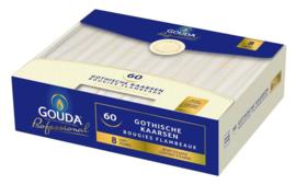 Gouda Gotische kaarsen 250/24 Wit ( 60stuks)