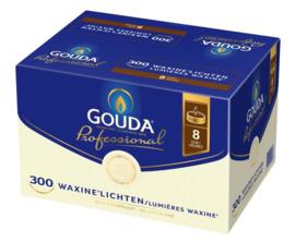 Gouda witte 8-uurs waxinelichtjes in doos 300 stuks