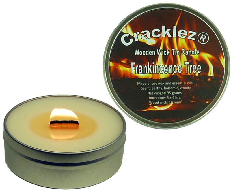 Cracklez® Knetter Houten Lont Geurkaars in blik Wierook en Hout. Ongekleurd.