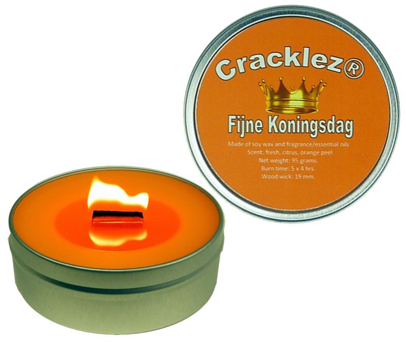 Cracklez® Knetter Houten Lont Geurkaars in blik Fijne Koningsdag. Sinaasappel Geur. Oranje.