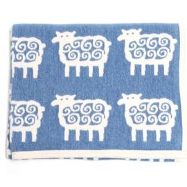Klippan deken eco katoen Schaapjes blauw-ecru