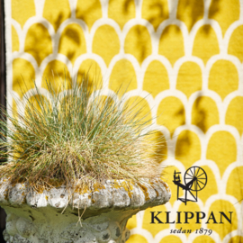 Katoenen Klippan plaid Feathers geel