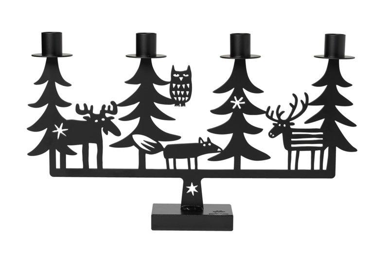 Kandelaar Christmas Forest black