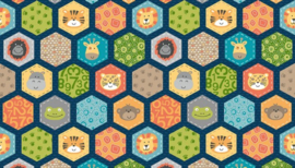 Jungle Hexagons Blue -  2200B