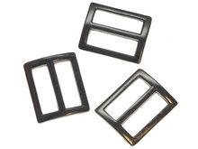 Metalen schuifgesp gunmetal 25 mm - rechthoekig