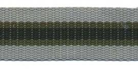 Tassenband 25 mm streep - grijs
