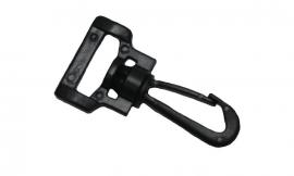 Musketonhaak draaibaar - zwart kunststof 20 mm