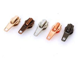 Metalen runner/ritsvoetje - diverse kleuren