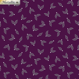Jubilee Silver Little Leaves Plum - 5495/M66