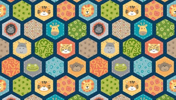 Jungle Hexagons Blue -  2200B