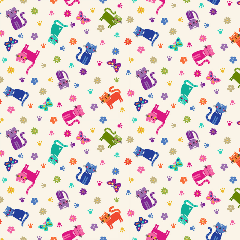Katies Cats Scattered Cream -  2349Q