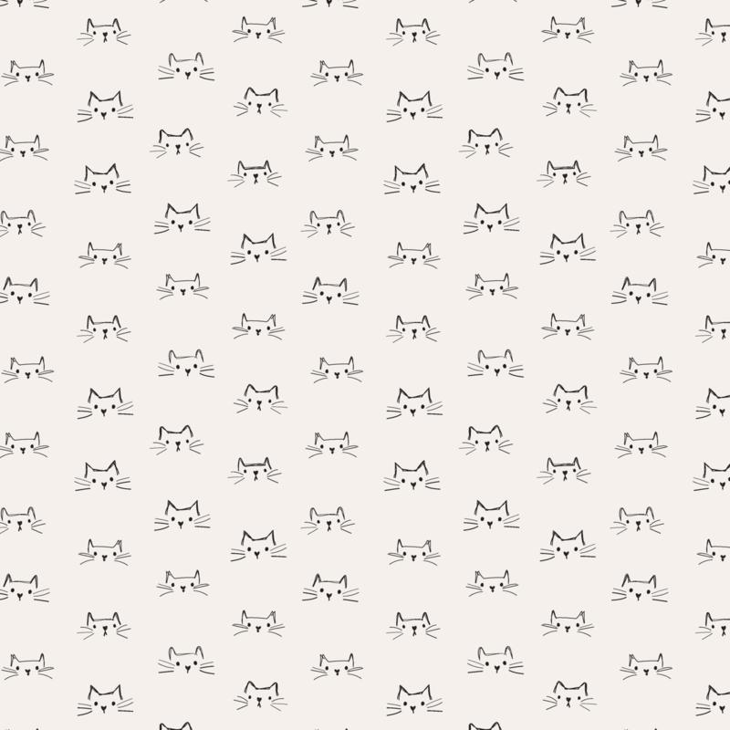 Mod Cat Faces Ivory - 52607/1