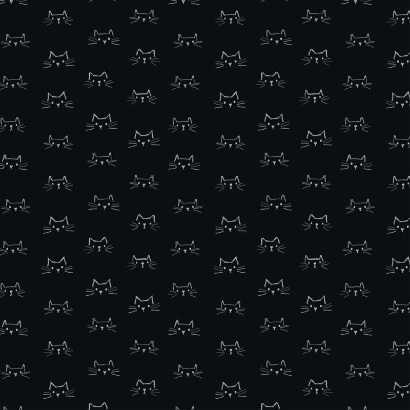 Mod Cat Faces Black - 52607/3