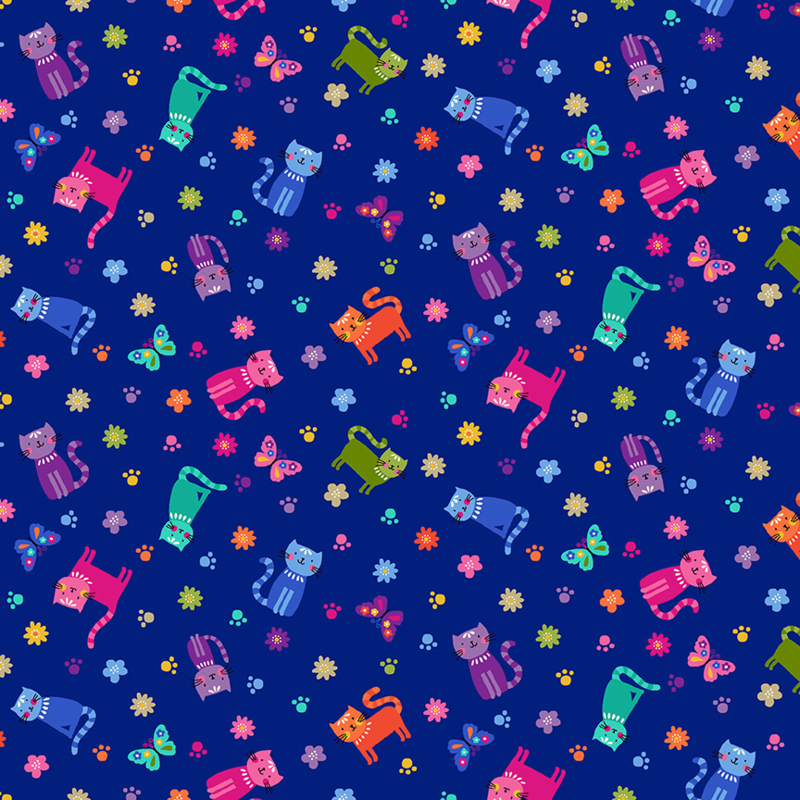 Katies Cats Scattered Blue -  2349B