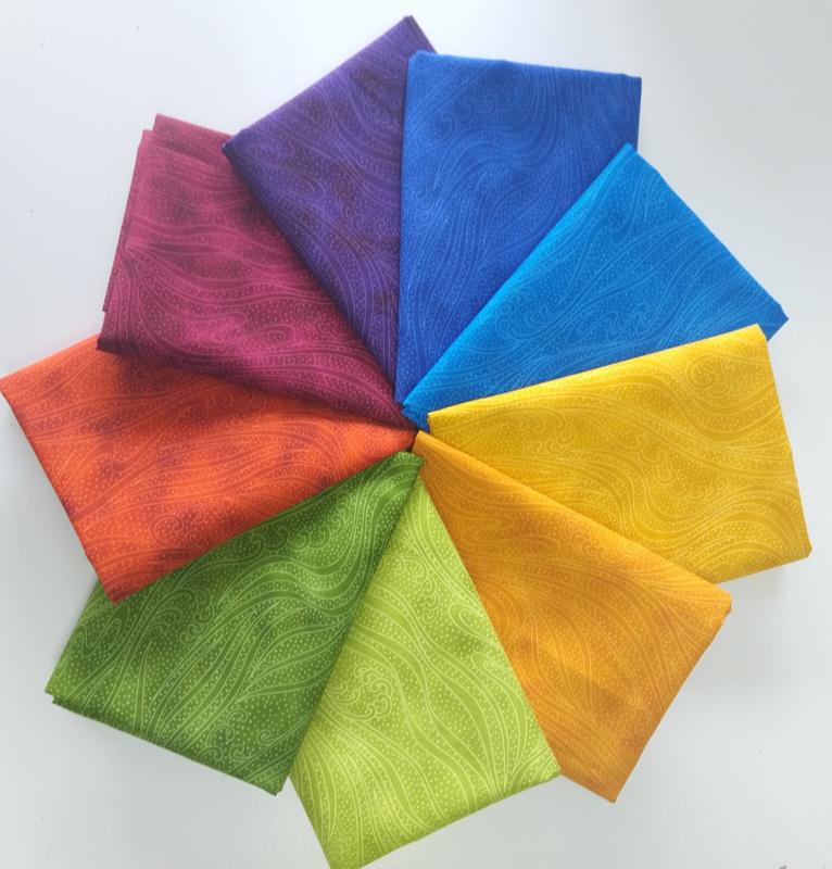 Pakket 10 Fat Quarters,  Color Movement