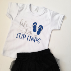 CHIZ-CHIC | Shirtje Life is beter in Flip Flops