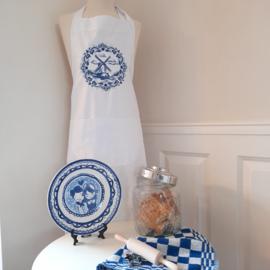 FUNNIES | Keukenschort dames met geborduurde molen in blauw