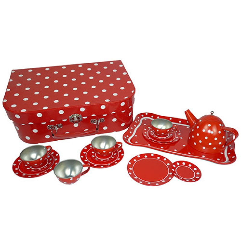 Blikken Servies Rood met witte Stippen in koffertje