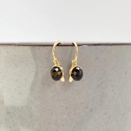Gouden minimalistische oorbellen met Rookkwarts