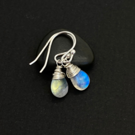 Gereserveerd-Oorbellen met regenboog maansteen, 925 zilver