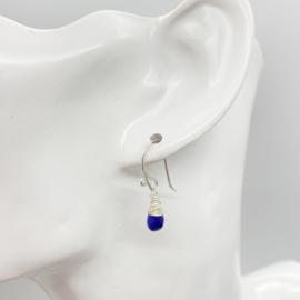 Zilveren oorbellen met Lapis Lazuli