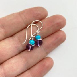 Zilveren oorbellen met Amethist en Turkoois
