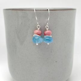 Zilveren oorbellen met Aquamarijn en Rhodoniet