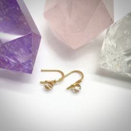 Kleine 14k gold filled oorbellen met bergkristal