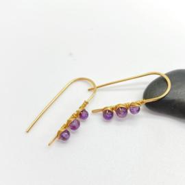 14k goldfill oorbellen met amethist
