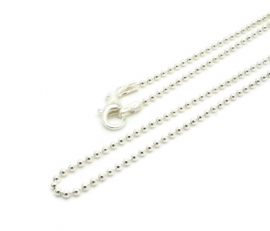 Sterling zilver bolletjes collier 45cm - Ball chain