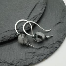 Zilveren oorbellen met toermalijnkwarts