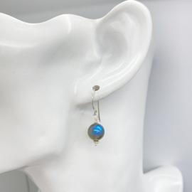 Zilveren Labradoriet oorbellen