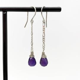 Zilveren figaro oorbellen met Amethist